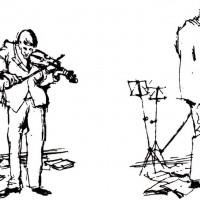 落胆するヴァイオリン弾き